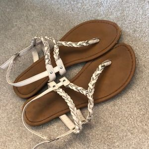 Shoes - White and silver sandals, size 7.5/8